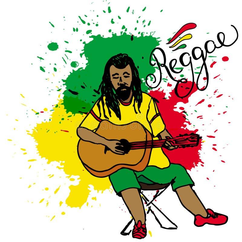 Ilustração do vetor do rastaman que joga a guitarra Indivíduo de Rastafarian com os dreadlocks que vestem a camisa amarela, calça ilustração royalty free