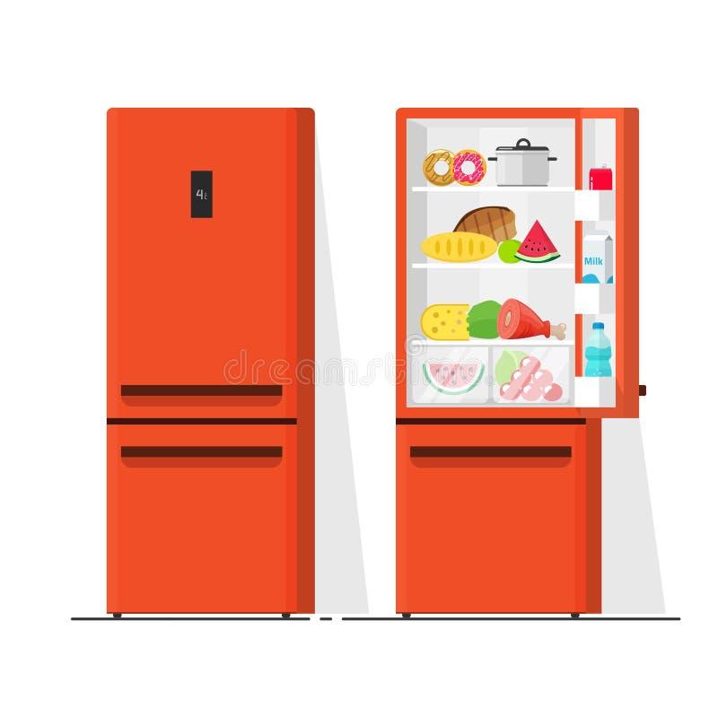 Ilustração do vetor do refrigerador, desenhos animados lisos abertos e refrigerador fechado, refrigerador completamente do alimen ilustração stock