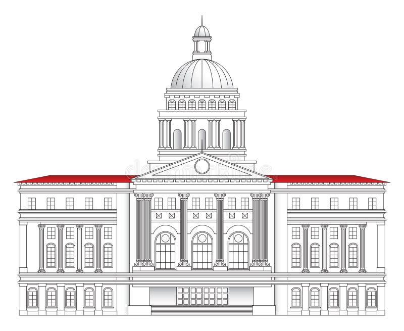 Ilustração do vetor do salão de cidade ilustração royalty free