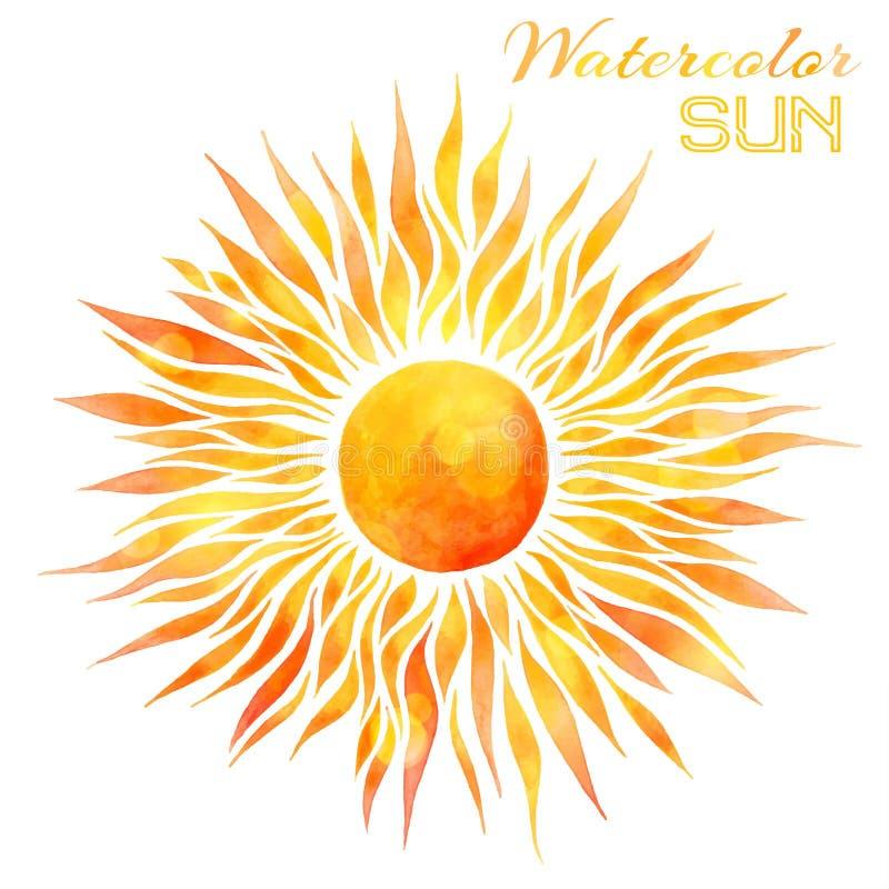 Ilustração do vetor do sol da aquarela fotos de stock royalty free