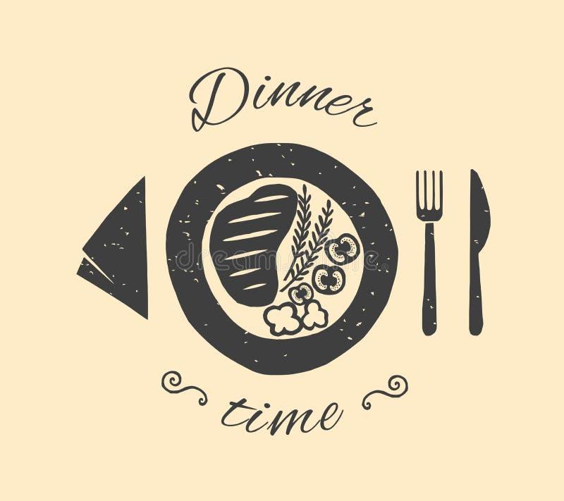 Ilustração do vetor do tempo de jantar ilustração do vetor