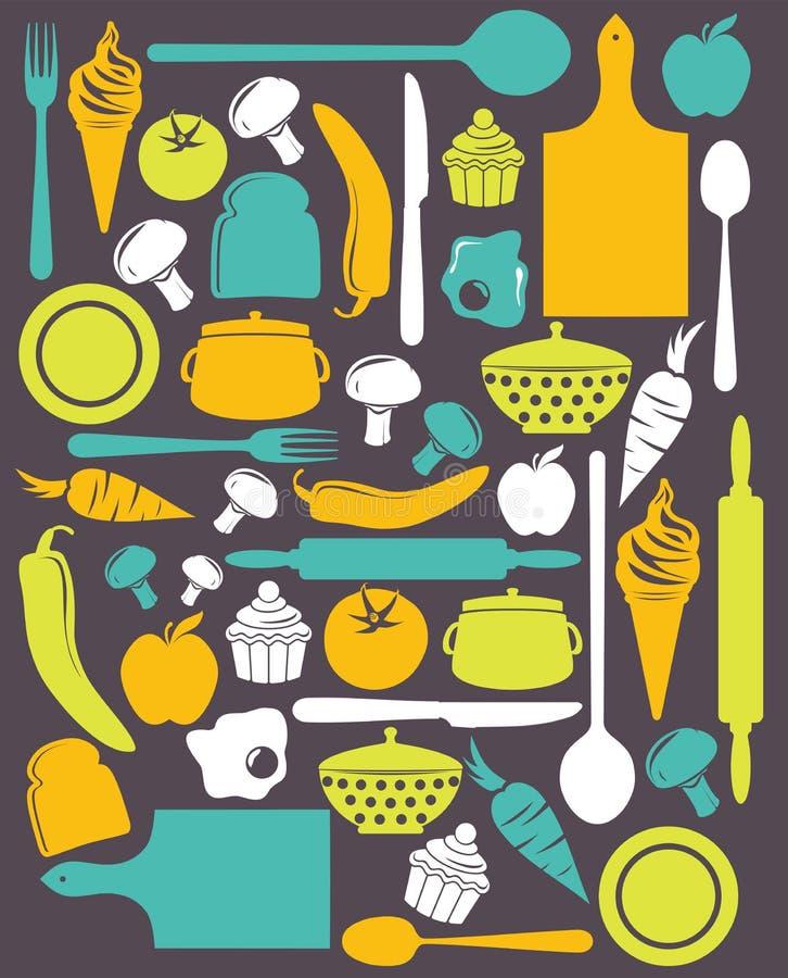 Teste padrão bonito da cozinha ilustração stock