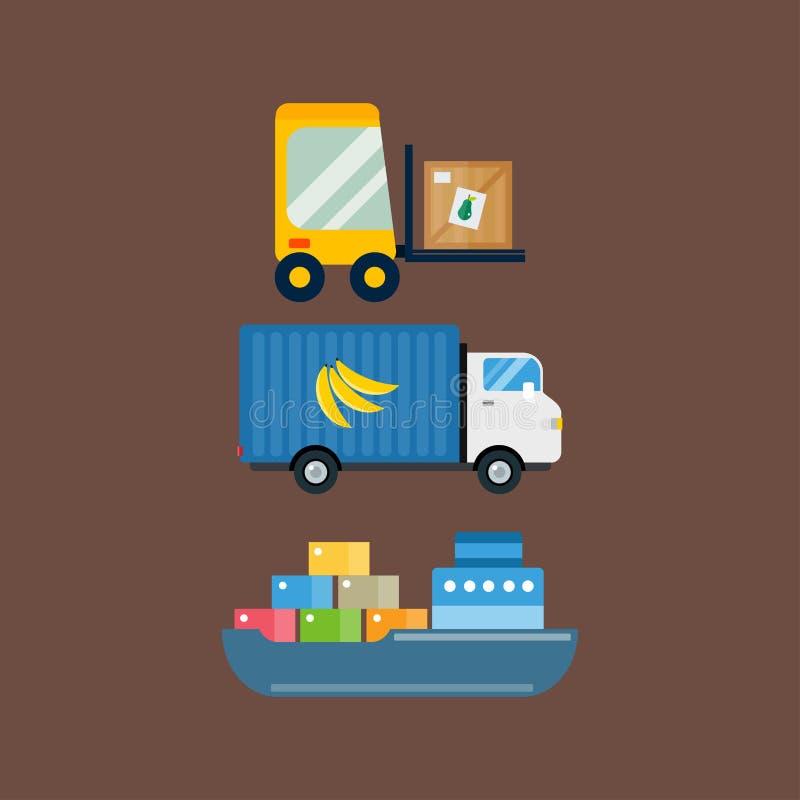Ilustração do vetor do transporte da entrega dos frutos da importação ilustração do vetor