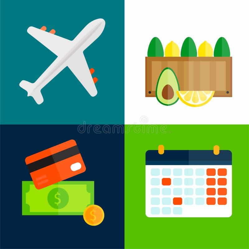 Ilustração do vetor do transporte do avião dos frutos da exportação da importação ilustração stock