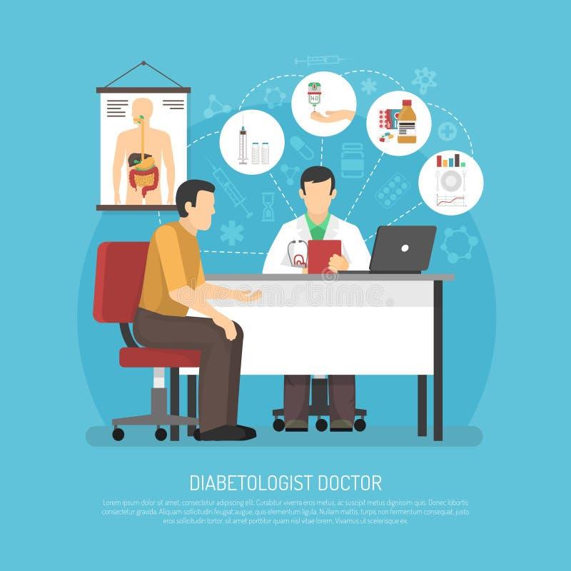 Ilustração do vetor do tratamento do diabetes ilustração do vetor