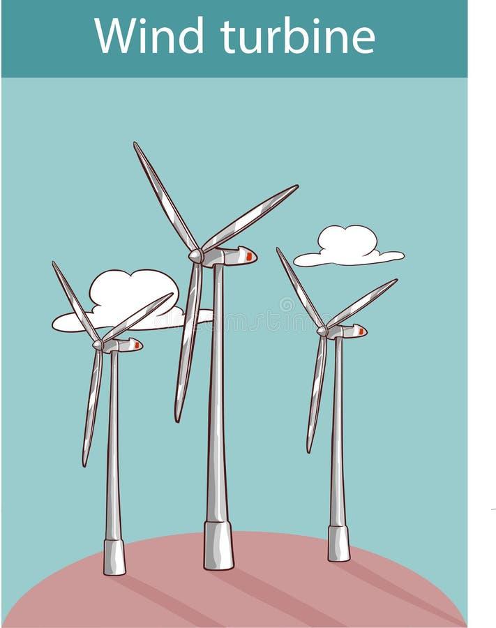 Ilustração do vetor do turbinas eólicas ilustração stock