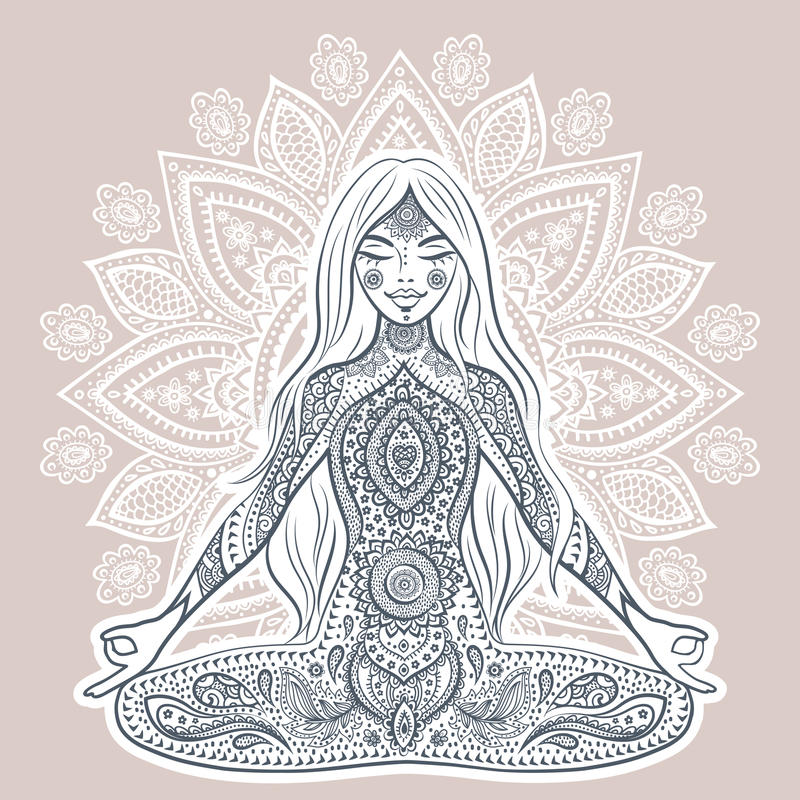 Ilustração do vetor do vintage com menina da ioga Pose da mediação ilustração stock