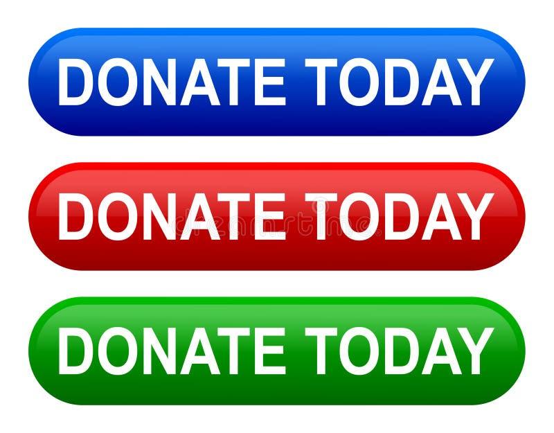 A ilustração do vetor doa hoje ícones do botão imagem de stock