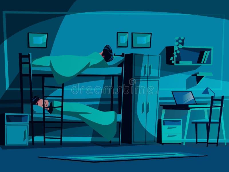 Ilustração do vetor do dormitório da estudante universitário ilustração royalty free