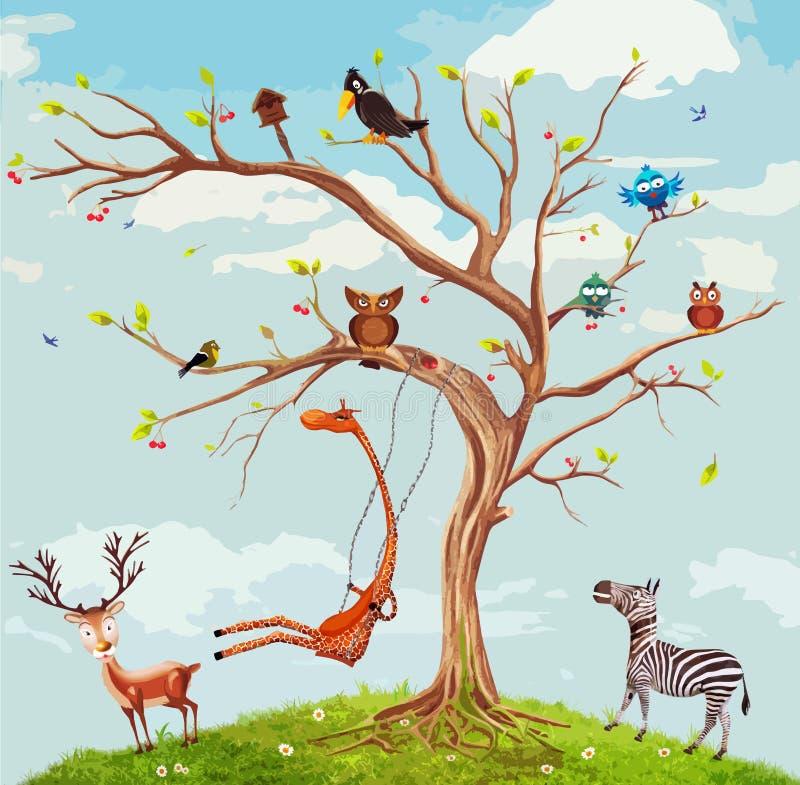 Ilustração do vetor dos animais na árvore ilustração do vetor