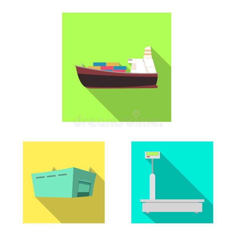 Ilustração do vetor dos bens e do ícone da carga Grupo de bens e da ilustração conservada em estoque do vetor do armazém ilustração stock
