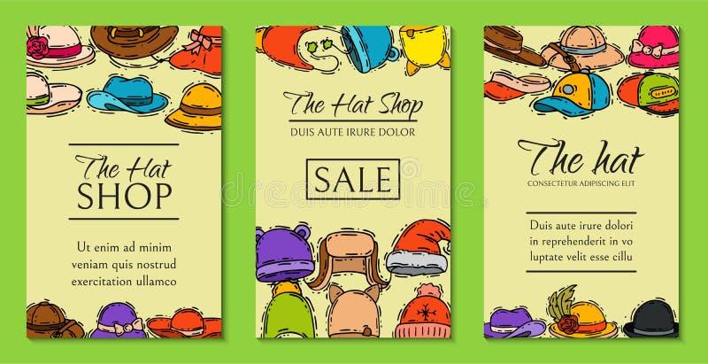 Ilustração do vetor dos cartões da venda da loja do mercado de loja de chapéus Cartaz diferente dos acess?rios de pano do tamp?o  ilustração stock