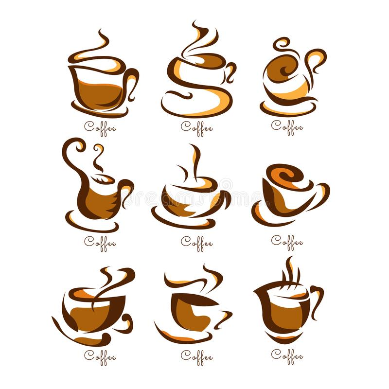 Ilustração do vetor dos copos de café No fundo branco etiqueta menu ilustração royalty free
