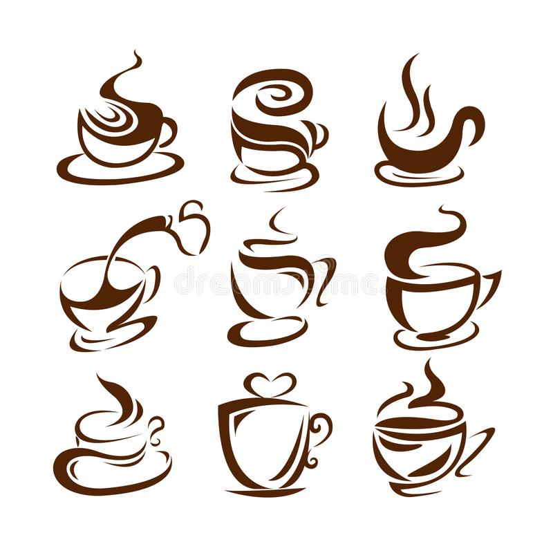 Ilustração do vetor dos copos de café No fundo branco etiqueta menu ilustração do vetor