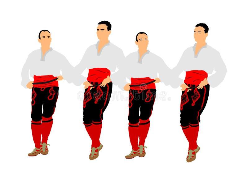 Ilustração do vetor dos dançarinos de Balcãs isolada no fundo branco Kolo da dan?a popular em Europa do leste Dança tradicional g ilustração stock