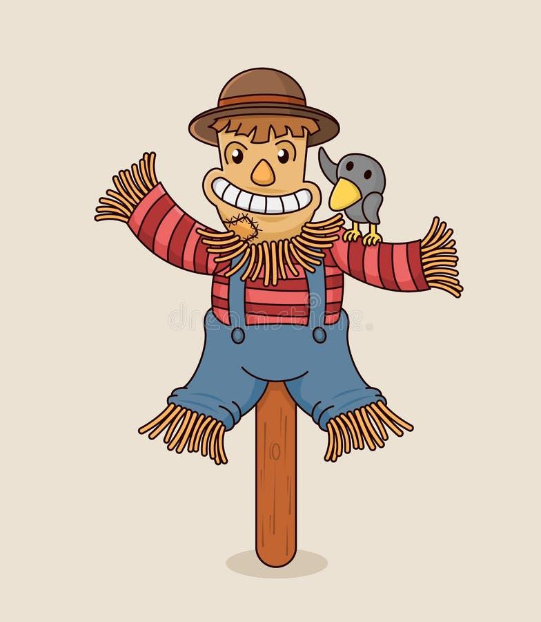 Ilustração do vetor dos desenhos animados do caráter de sorriso feliz do espantalho na vara de madeira com corvo bonito Projeto p ilustração do vetor