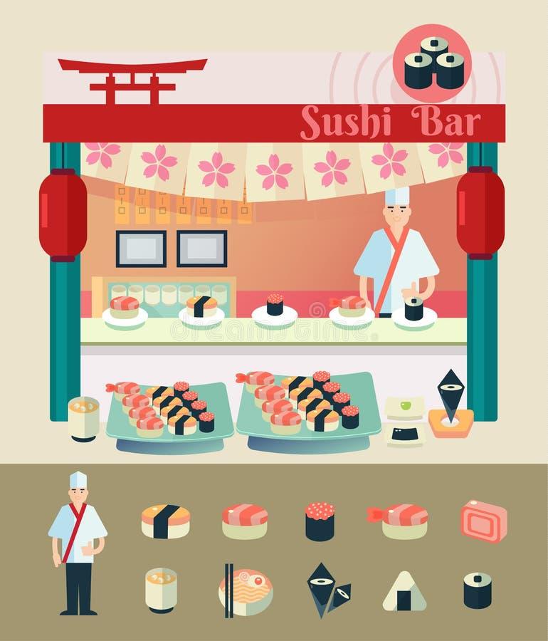 Ilustração do vetor dos desenhos animados da barra de sushi ilustração royalty free