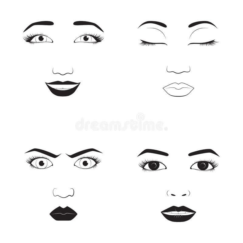 A ilustração do vetor dos desenhos animados da cara da emoção da menina e do caráter bonito do símbolo do ícone do emoji da mulhe ilustração stock
