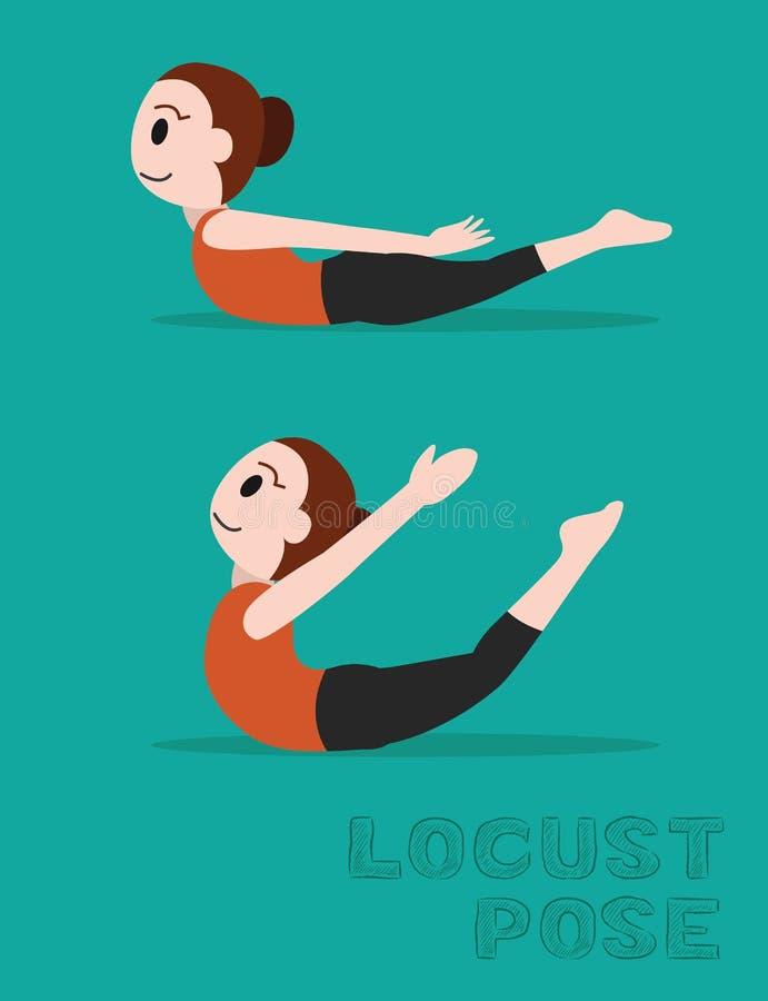 Ilustração do vetor dos desenhos animados da pose dos locustídeo da ioga ilustração stock