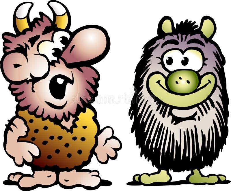 Ilustração do vetor dos desenhos animados de dois diabretes ou monstro engraçados da pesca à corrica ilustração stock