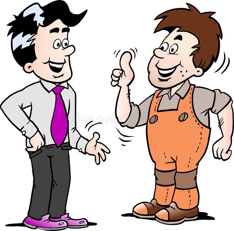 A ilustração do vetor dos desenhos animados de dois homens lá concordou um negócio ilustração do vetor