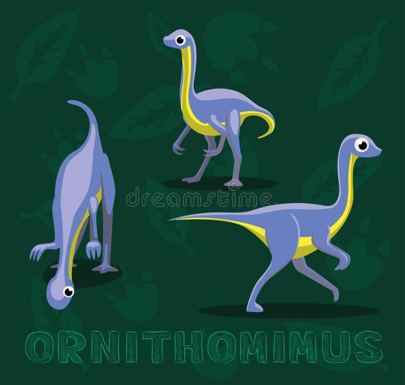 Ilustração do vetor dos desenhos animados de Ornithomimus do dinossauro ilustração do vetor