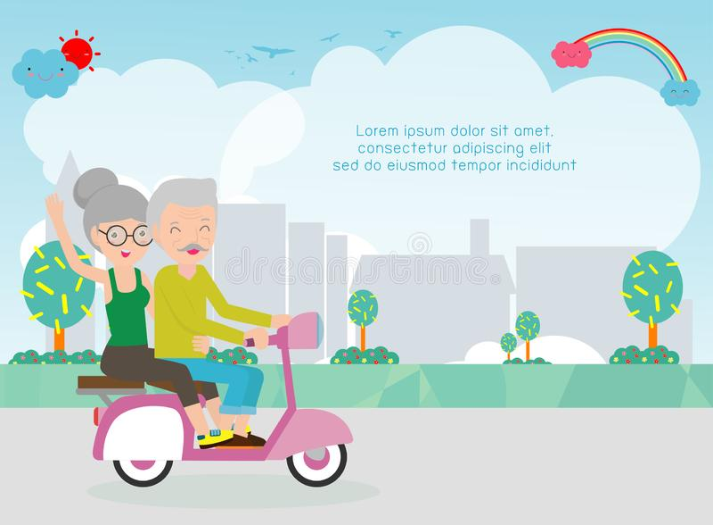 Ilustração do vetor dos desenhos animados de pares idosos no velomotor, pessoas adultas que montam em sua motocicleta ilustração do vetor