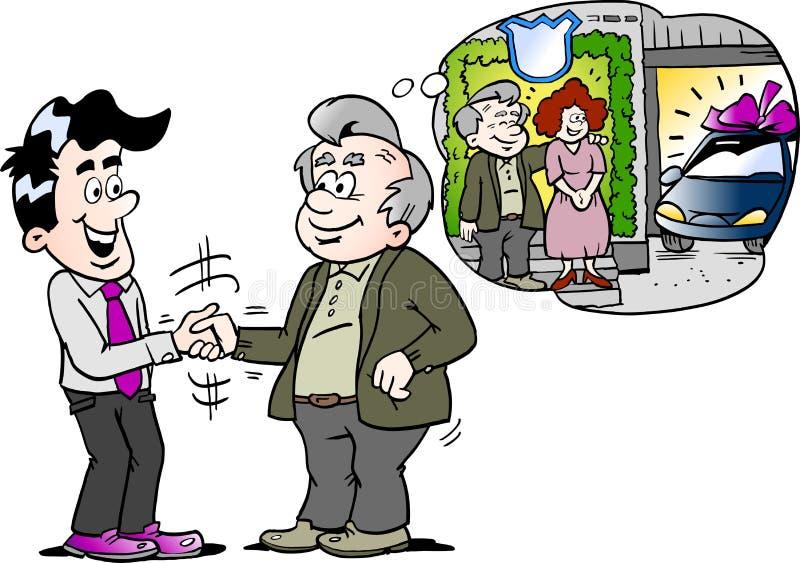 A ilustração do vetor dos desenhos animados de um ancião lá tem a compra um auto carro novo ilustração do vetor