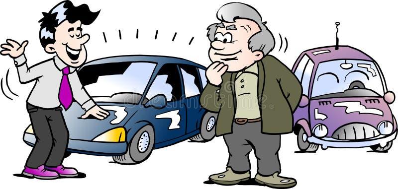 Ilustração do vetor dos desenhos animados de um ancião que esteja interessado em um auto carro brandnew ilustração royalty free