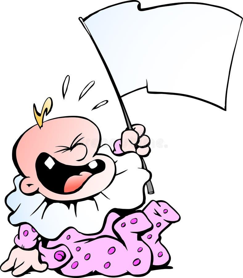 Ilustração do vetor dos desenhos animados de um bebê histericamente gritando ilustração royalty free