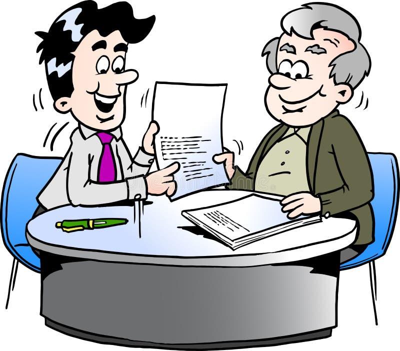 Ilustração do vetor dos desenhos animados de um homem de negócio e de um homem mais idoso que têm uma reunião de negócios ilustração stock
