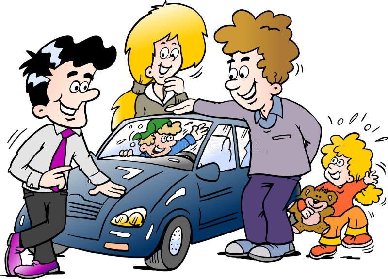 Ilustração do vetor dos desenhos animados de uma família que olha um auto carro novo ilustração do vetor