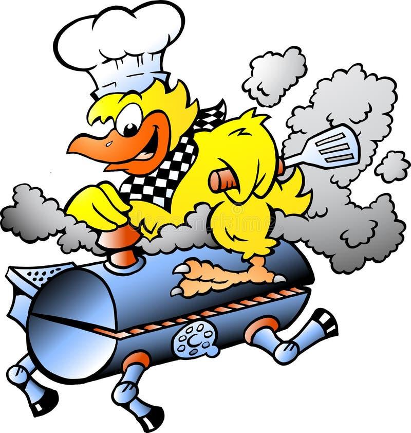 Ilustração do vetor dos desenhos animados de uma galinha amarela que monta um tambor da grade do BBQ ilustração stock