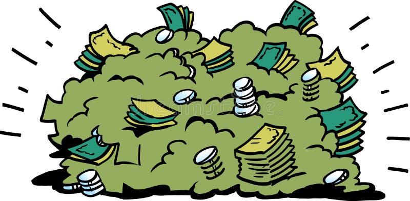 Ilustração do vetor dos desenhos animados de uma pilha grande de cédulas do dinheiro ilustração do vetor