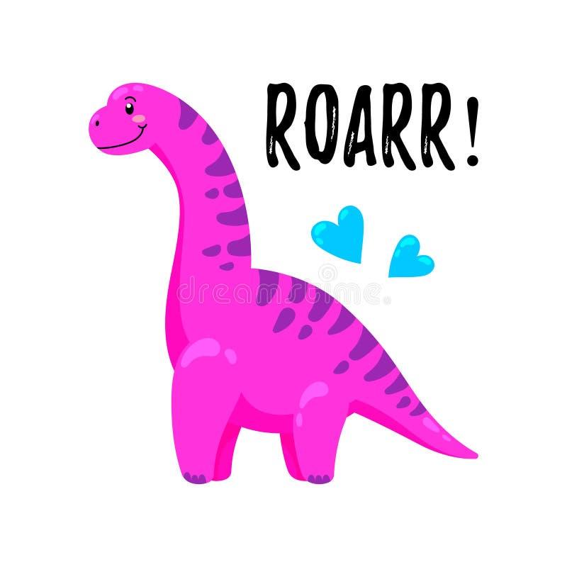 Ilustração do vetor dos desenhos animados Dinossauro bonito da garatuja Molde para a cópia, projeto ilustração stock