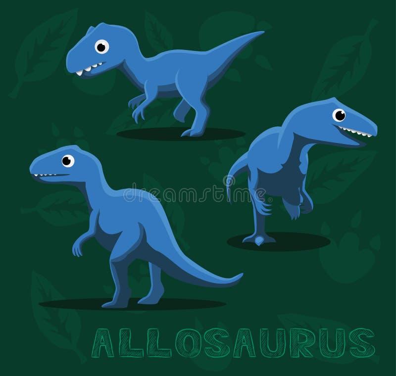 Ilustração do vetor dos desenhos animados do Allosaurus do dinossauro ilustração do vetor