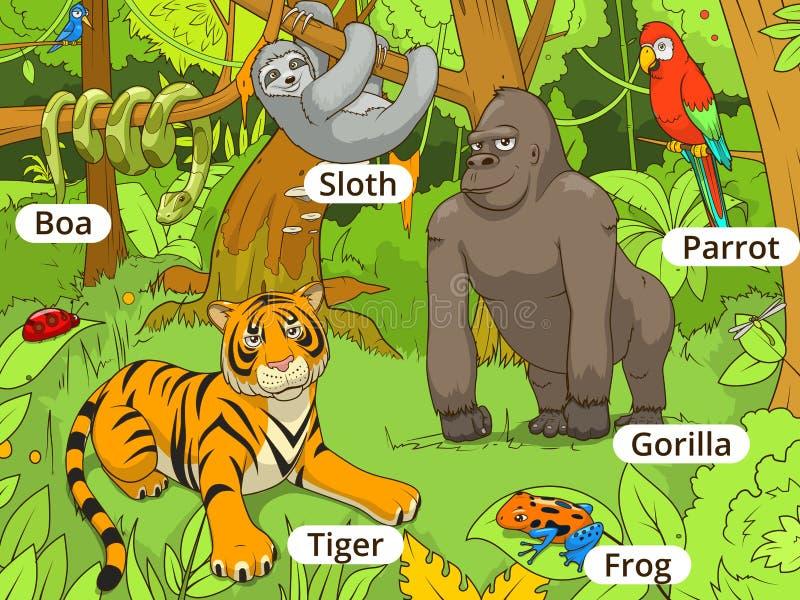 Ilustração do vetor dos desenhos animados dos animais da selva ilustração do vetor