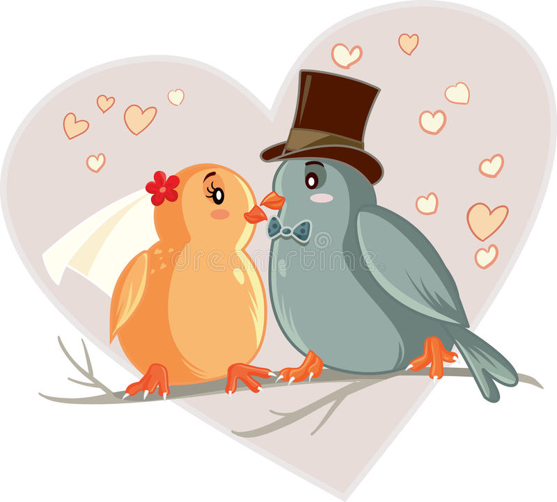 Ilustração do vetor dos desenhos animados dos pássaros do amor ilustração royalty free