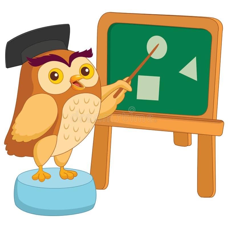 Ilustração do vetor dos desenhos animados Owl Teacher ilustração stock