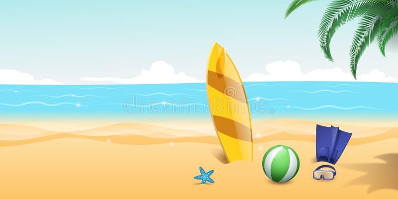 Ilustração do vetor dos esportes de água do verão Aletas do mergulho autônomo, mergulhando óculos de proteção no Sandy Beach ?gua ilustração stock