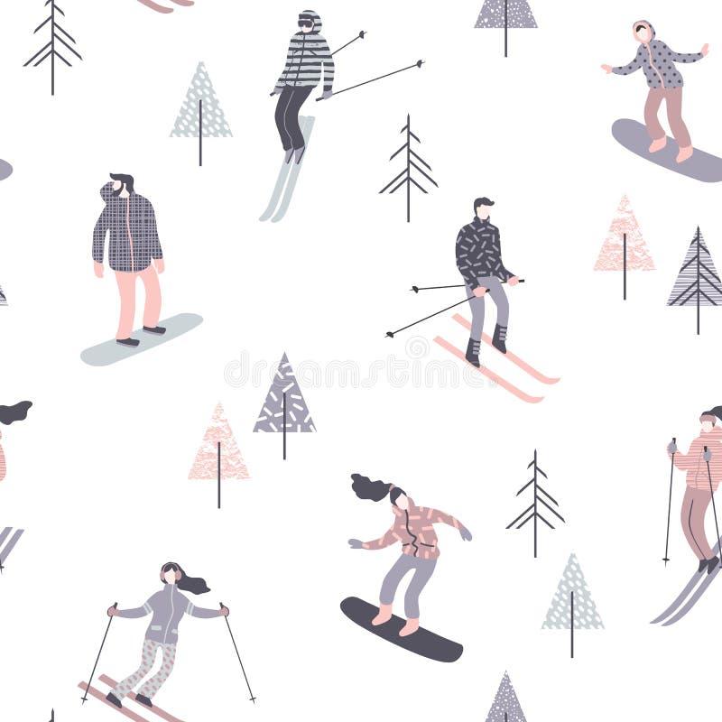 Ilustração do vetor dos esquiadores e dos snowboarders Teste padrão sem emenda ilustração do vetor