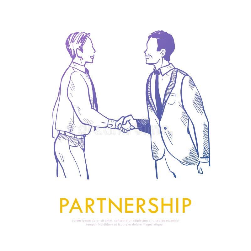 Ilustração do vetor dos executivos que agitam as mãos que fazem um acordo isolado no fundo branco ilustração do vetor