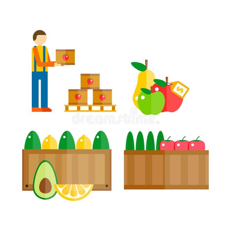 Ilustração do vetor dos frutos da exportação da importação ilustração royalty free
