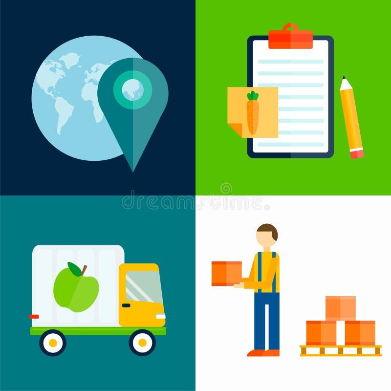 Ilustração do vetor dos frutos da exportação da importação ilustração do vetor
