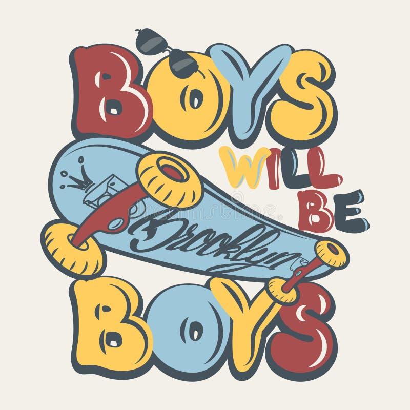 Ilustração do vetor dos gráficos do t-shirt dos meninos da placa do patim ilustração do vetor