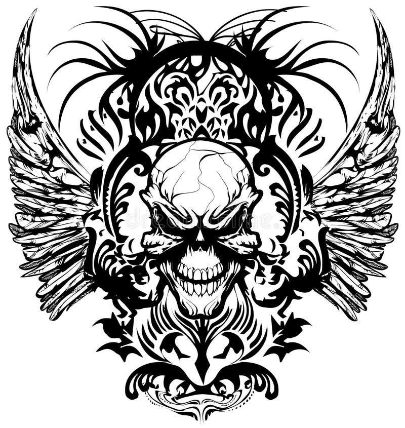 Ilustração do vetor dos logotipos do projeto do t-shirt do crânio ilustração royalty free
