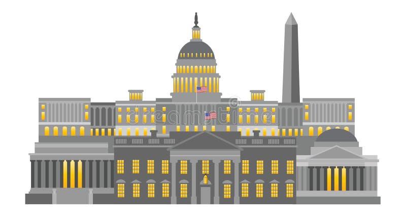Ilustração do vetor dos monumentos e dos marcos do Washington DC ilustração royalty free