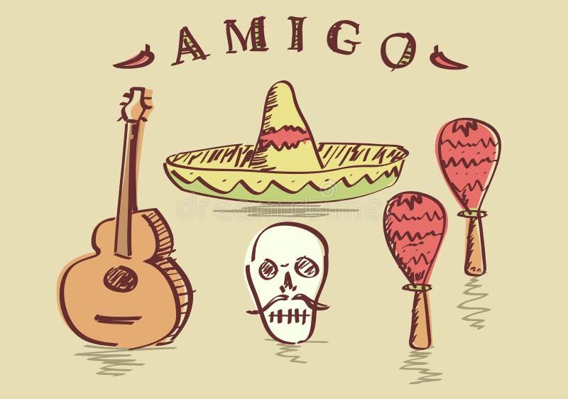 Ilustração do vetor dos objetos mexicanos tirados mão ajustados ilustração do vetor