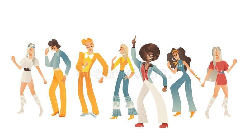 Ilustração do vetor dos povos da dança do disco ajustada com as vários homens e mulheres com roupa retro e penteados ilustração stock