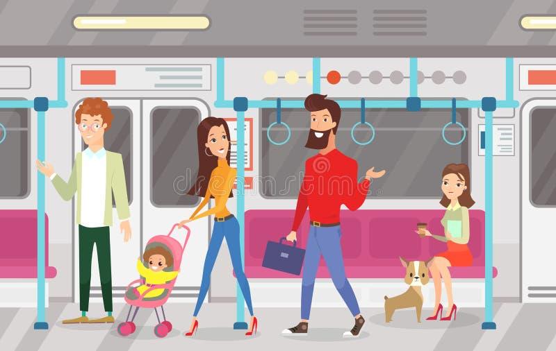 Ilustração do vetor dos povos no trem subterrâneo do metro Interior do metro com passageiros de comutação, sentando-se e ilustração royalty free